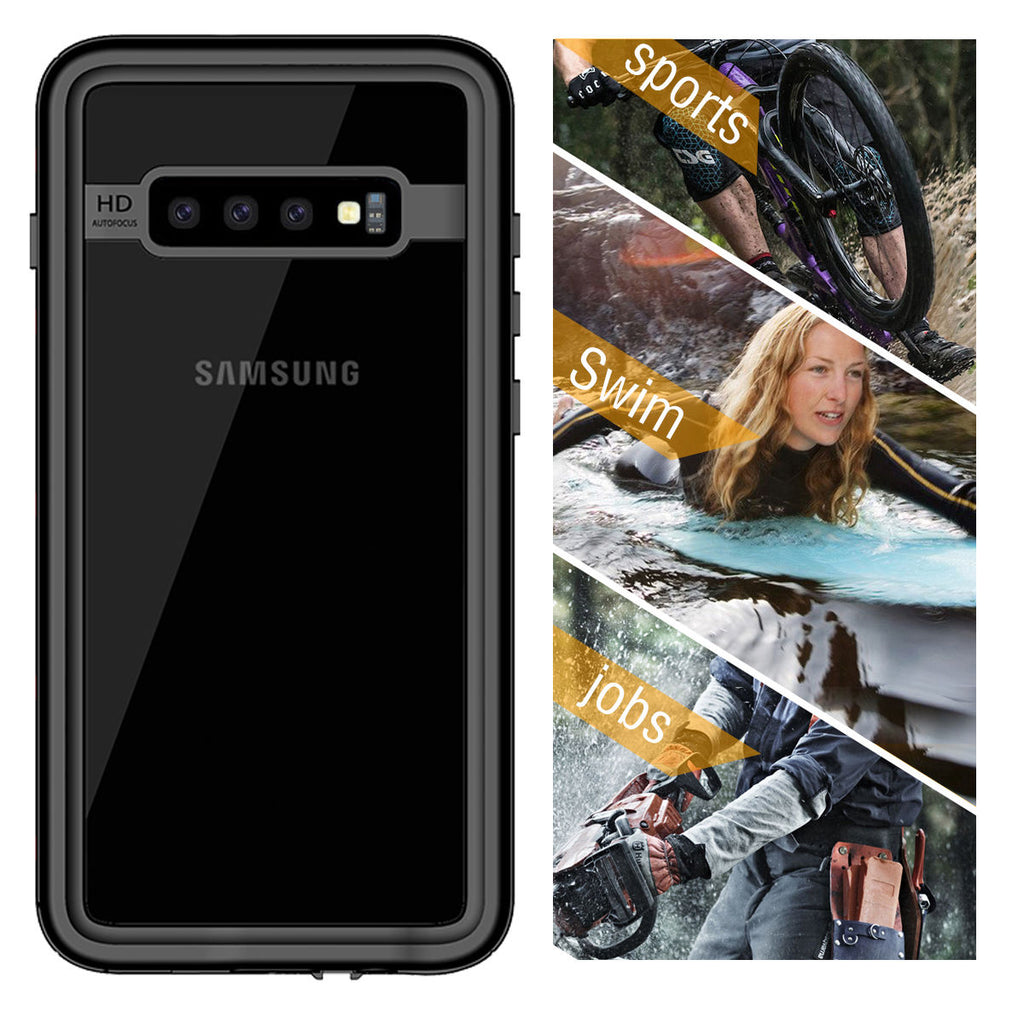 Samsung Galaxy S10 Waterproof Case IP68 Certified with Buoyancy Cotton Floating Strap Best Front Protection
