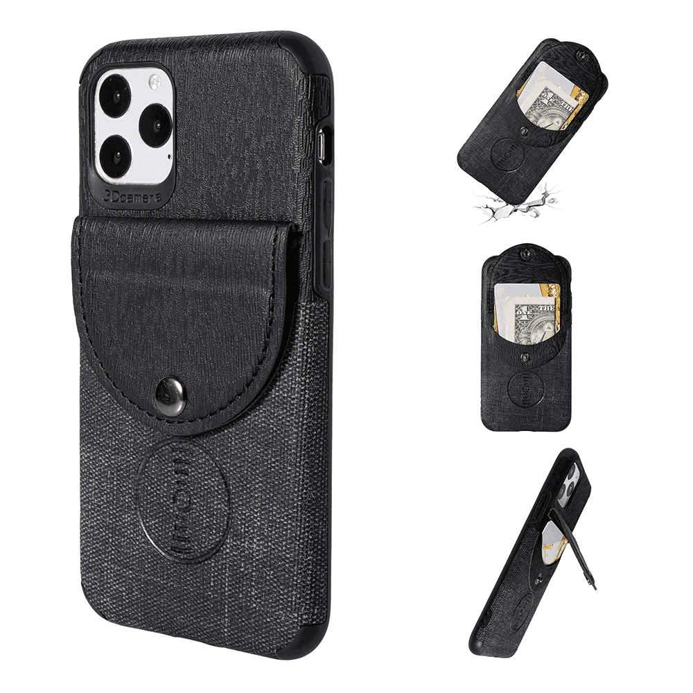 iPhone 11 Pro 5.8 Inch Leather Case with Credit Card Holder Ultra Thin Wood Grain Wallet Black
