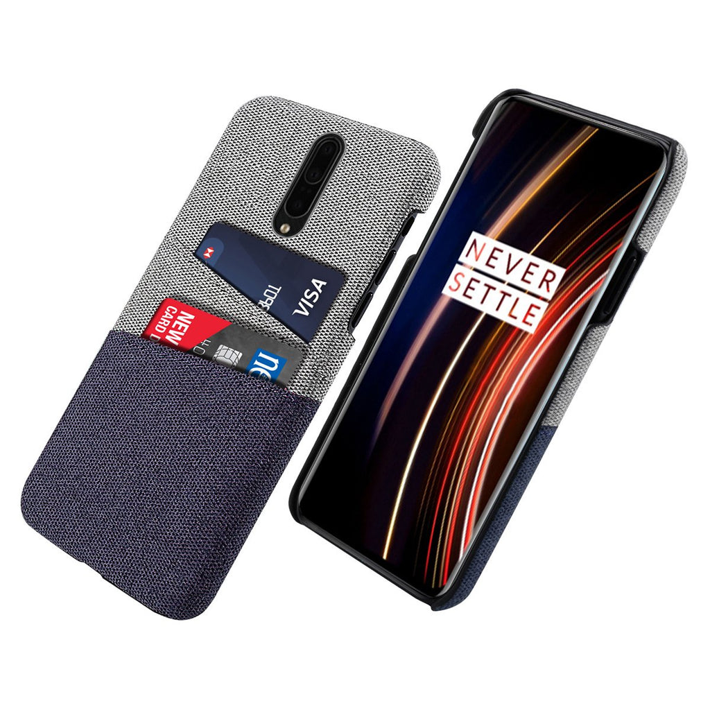 Case for OnePlus 7T Pro Credit Card Cell Phone Wallet Pocket PC Fabric Case Blue