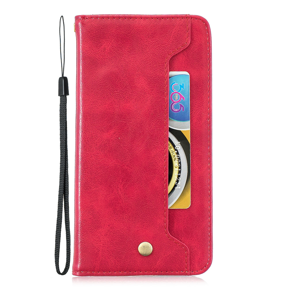 iPhone Leather Case iPhone 11 pro max Flip Stand Wallet with Card Slots Kickstand Red