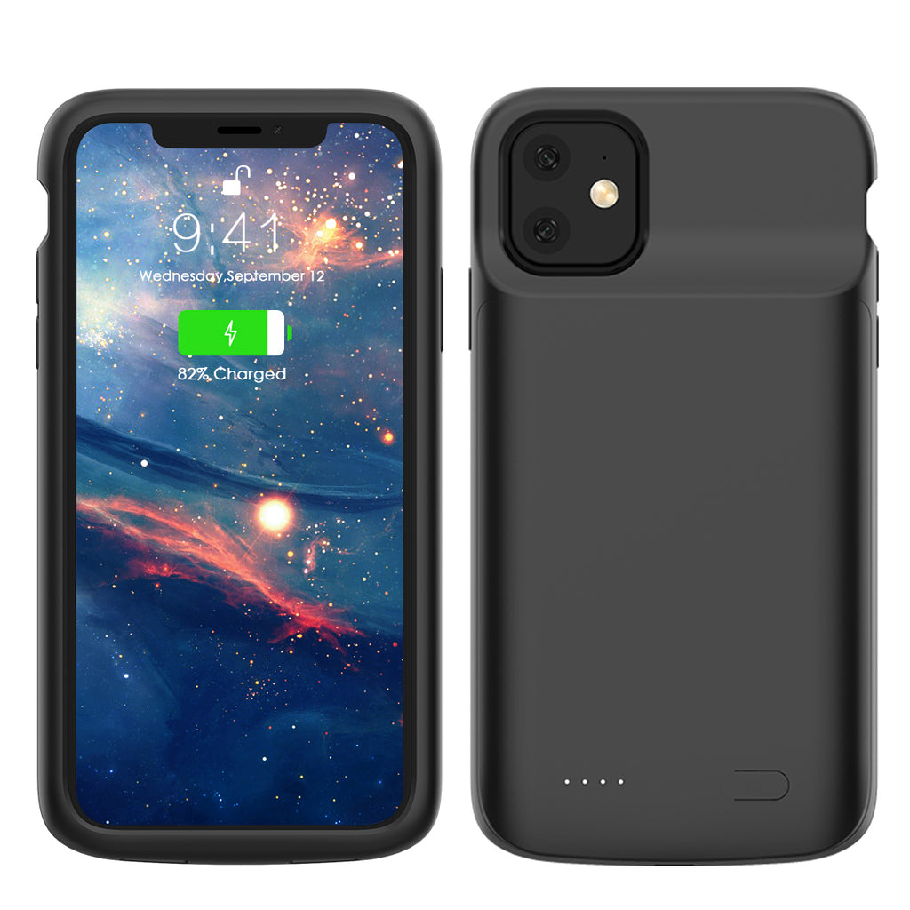 Battery Case for iPhone 11 5000mAh Slim Extended Battery Charger Case with Stand Black