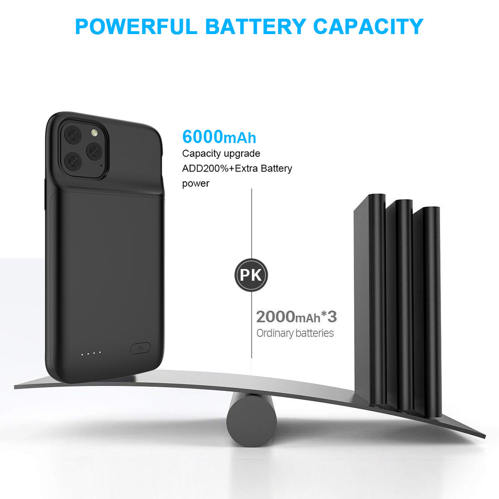 iPhone 11 Pro Battery Case Slim Extended Pack 4800mah Rechargeable Charger Black