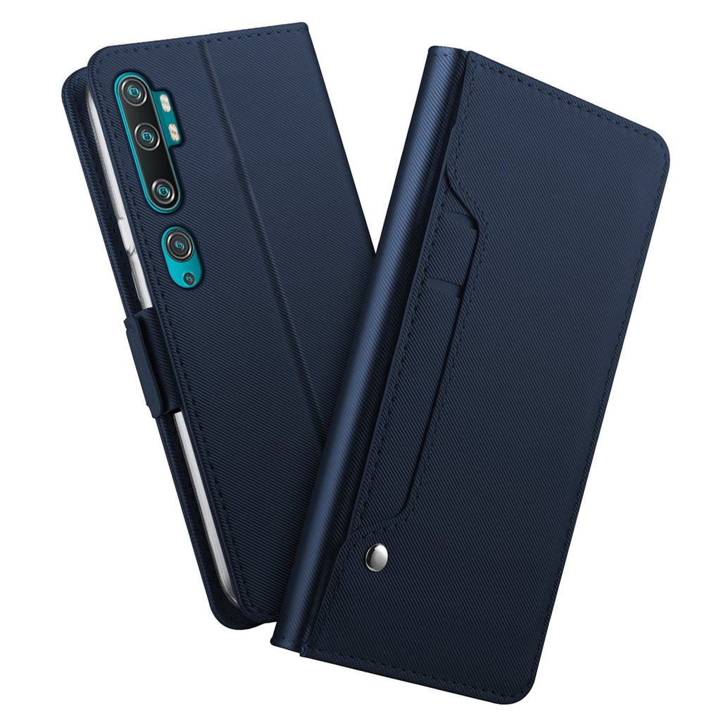 Xiaomi Mi Note 10 Leather Case Flip Folio Cover with Card Slots & Mirror for Men Blue