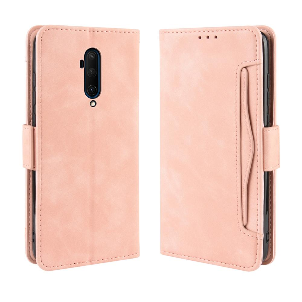 OnePlus 7T Pro Wallet Case Leather Wallet Flip Folio Case Cover with Card Slots Pink