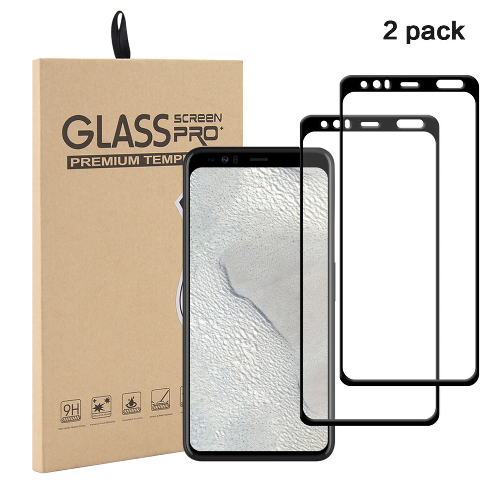 Pixel 4 Screen Protector HD Clear Bubble-free Tempered Glass Black 2 Pack