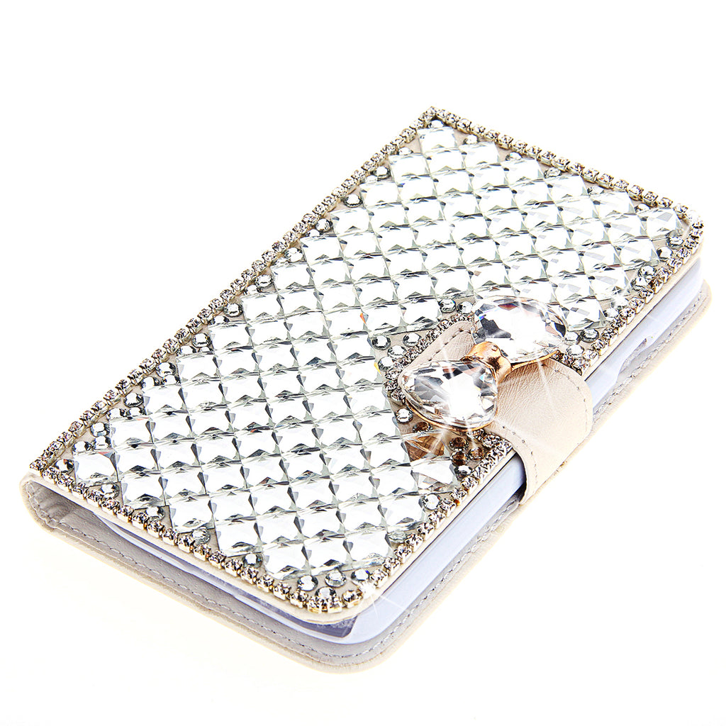Realme X2 Leather Case Luxury 3D Bling Crystal Rhinestone Flip Wallet Case White