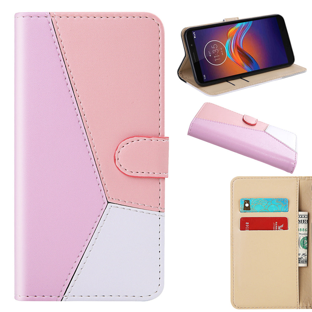 Moto E6 Play Leather Case Card Slots Wallet Flip Magnetic Case with Kickstand Pink