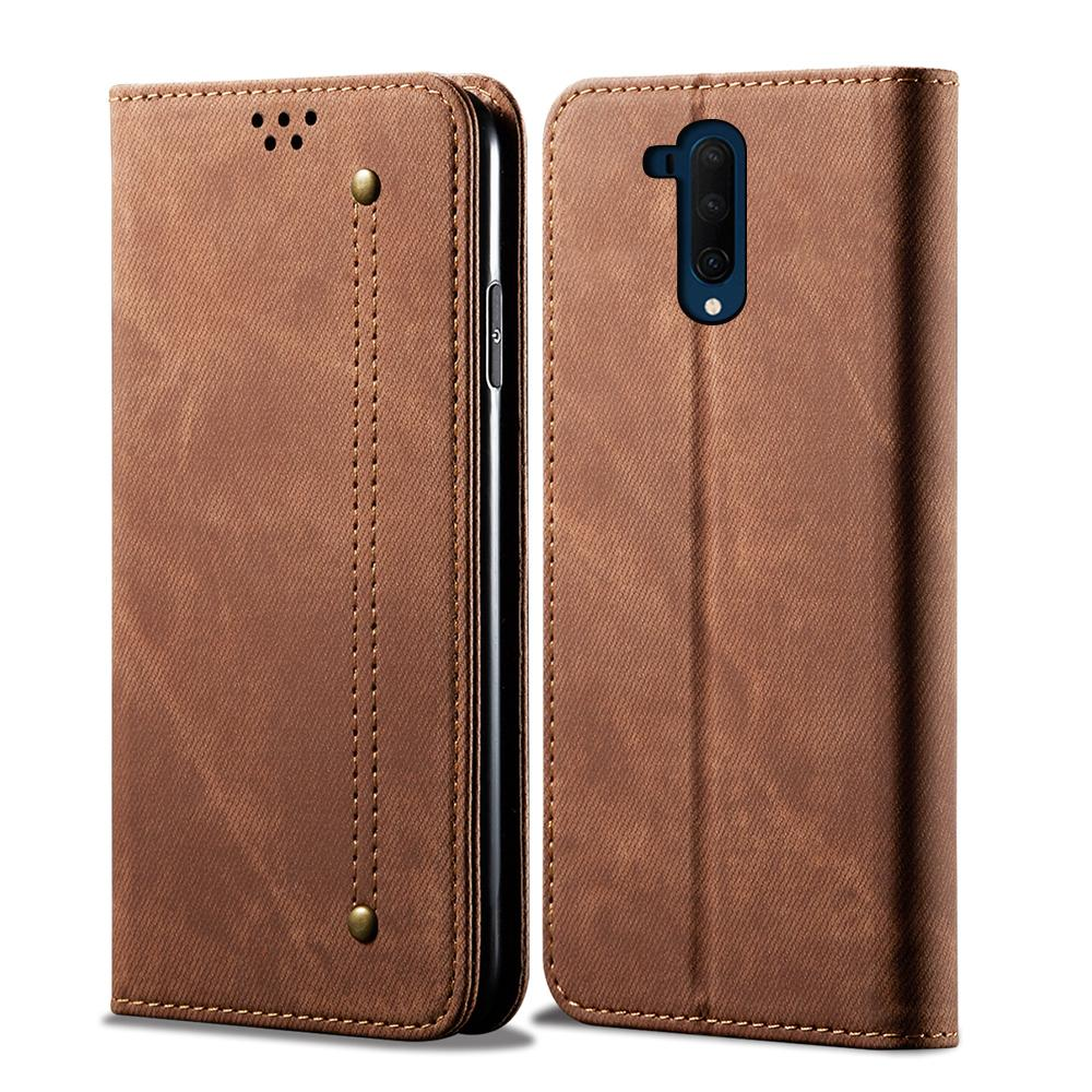 Oneplus 7T Pro Wallet Case Leather Wallet Protection Case with Kickstand Card Slots Khaki