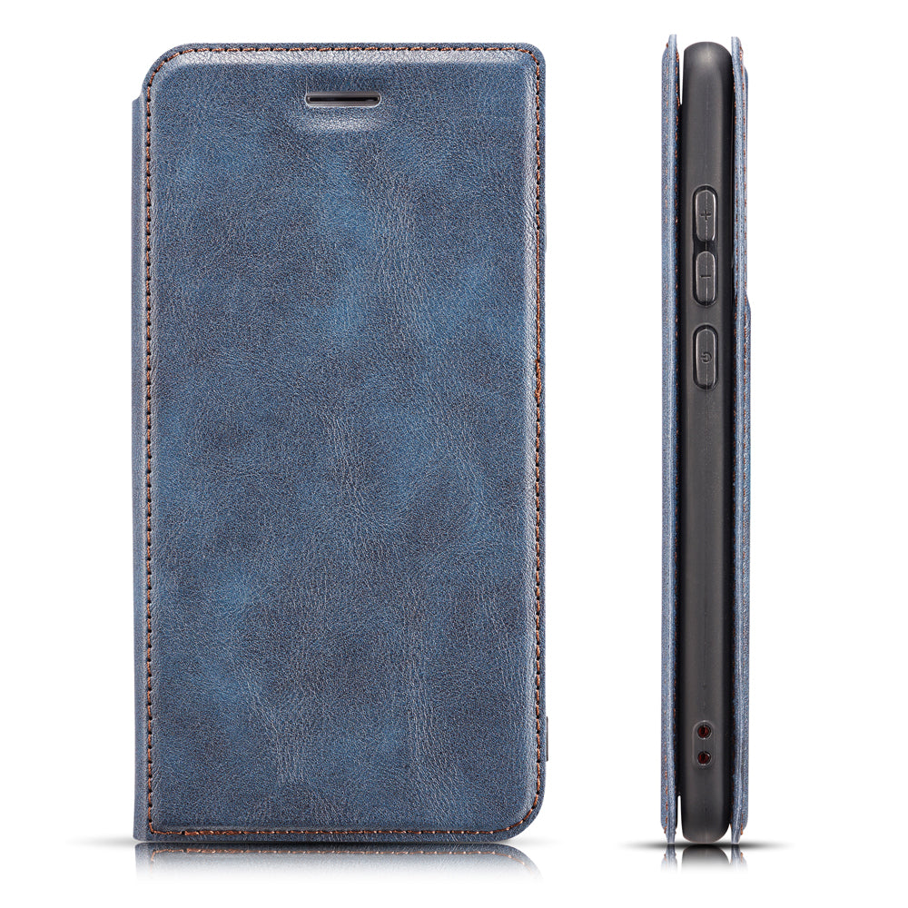 Galaxy A70s Wallet Case PU Leather Protective Case with Card Slot Kickstand Blue