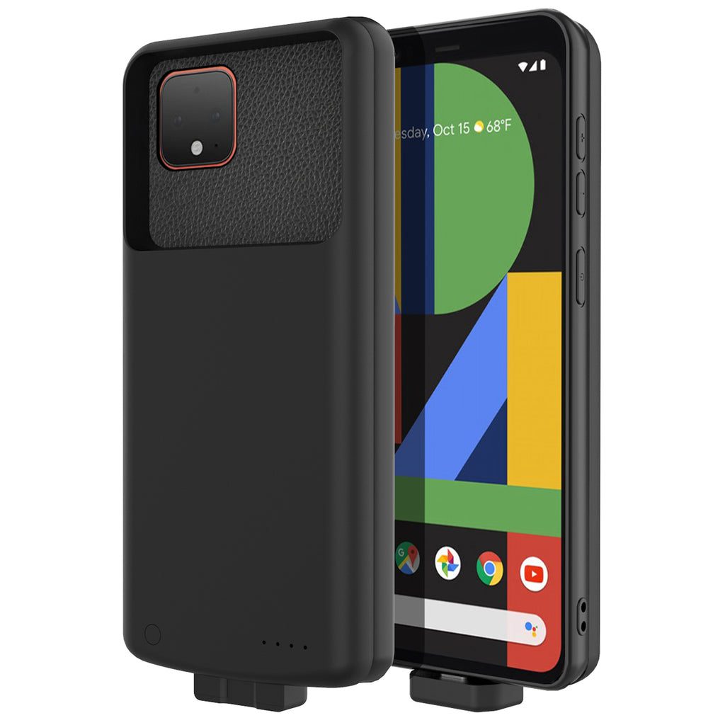 Pixel 4 XL Battery Charger Soft TPU Thin Cover 7000mah Rechargeable Extended Battery Case Black