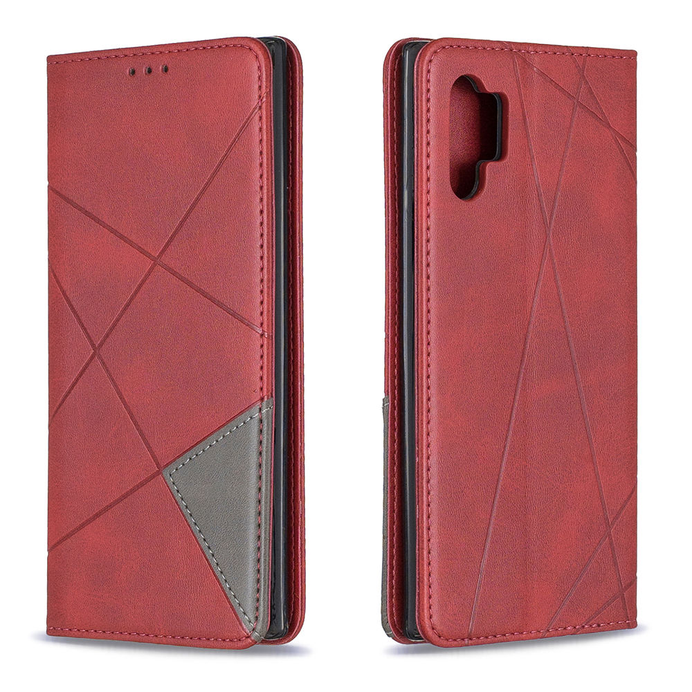 Wallet Case for Galaxy Note 10 Plus Flip Cover with Card Slots & Magnetic Closure Red