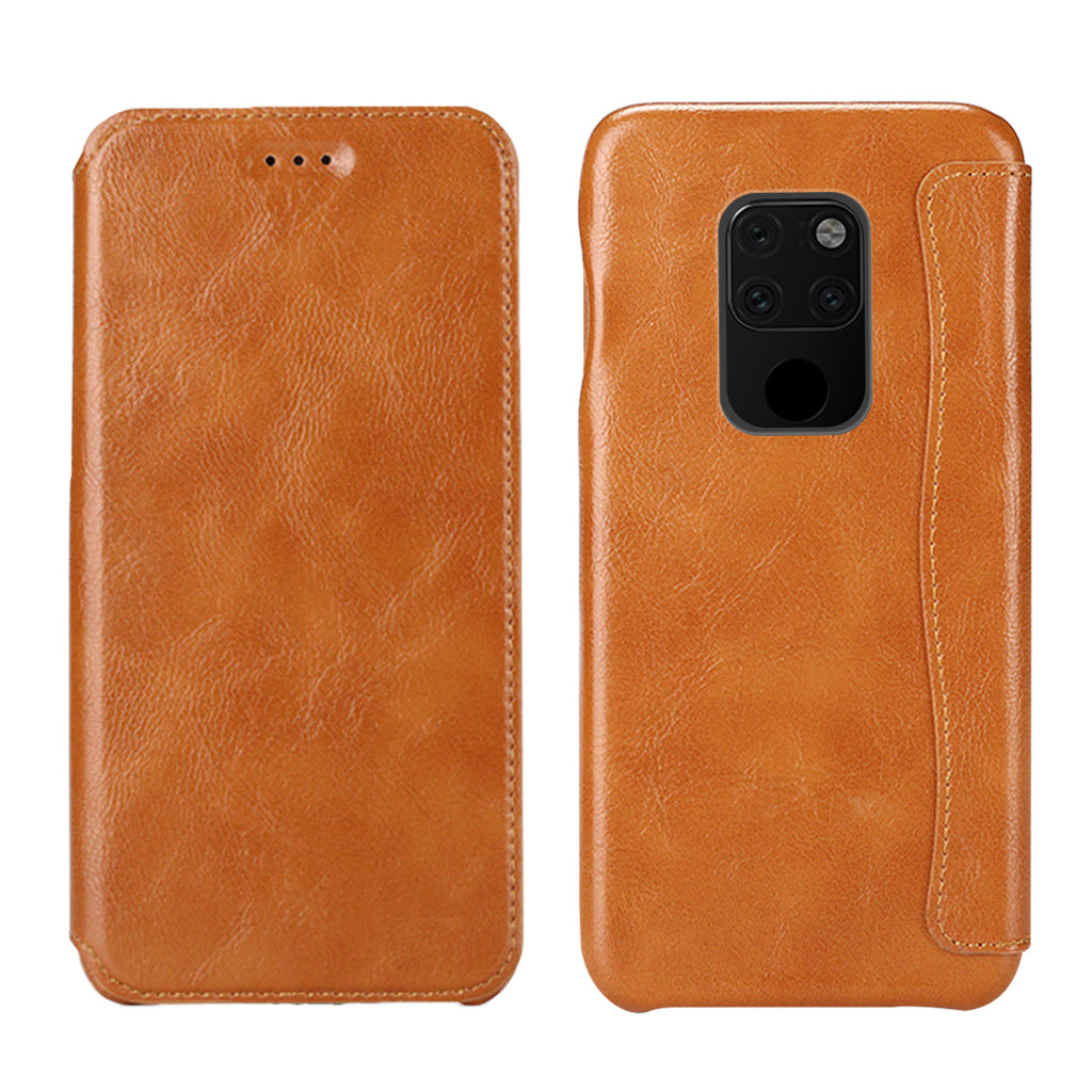 Huawei mate 20 Wallet Case Ultra-thin PU Leather Folio Flip Cover with Credit Card Slot Brown