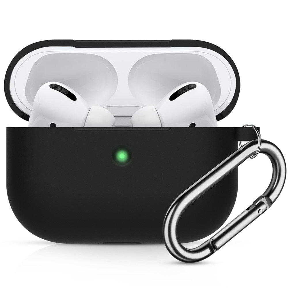 AirPods Pro Case Cover Silicone Protective Case for Apple Airpod Pro 2019 with Front LED Visible Black
