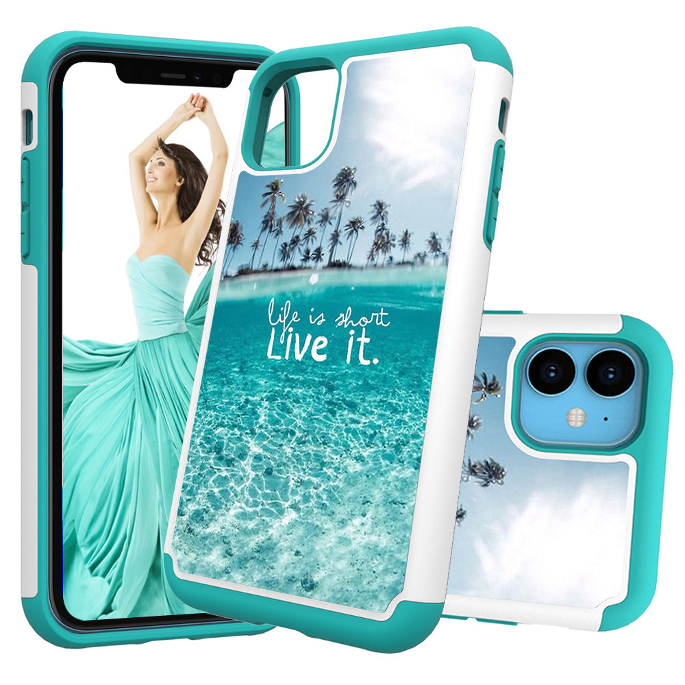 Bumper Case for iPhone 11 PC & Silicone Anti-Scratch Cover Cute Phone Case(Ocean)