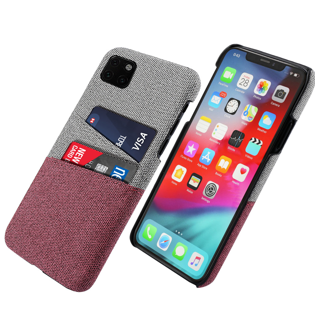 iPhone 11 pro Cover Anti Fall Fabric Case with Card Slots for Women Red