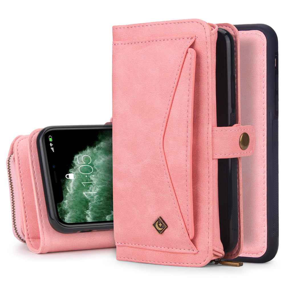 Wallet Case for iPhone 11 Pro Max Multi Function Tri-fold Wallet Flip Cover for Girls Pink