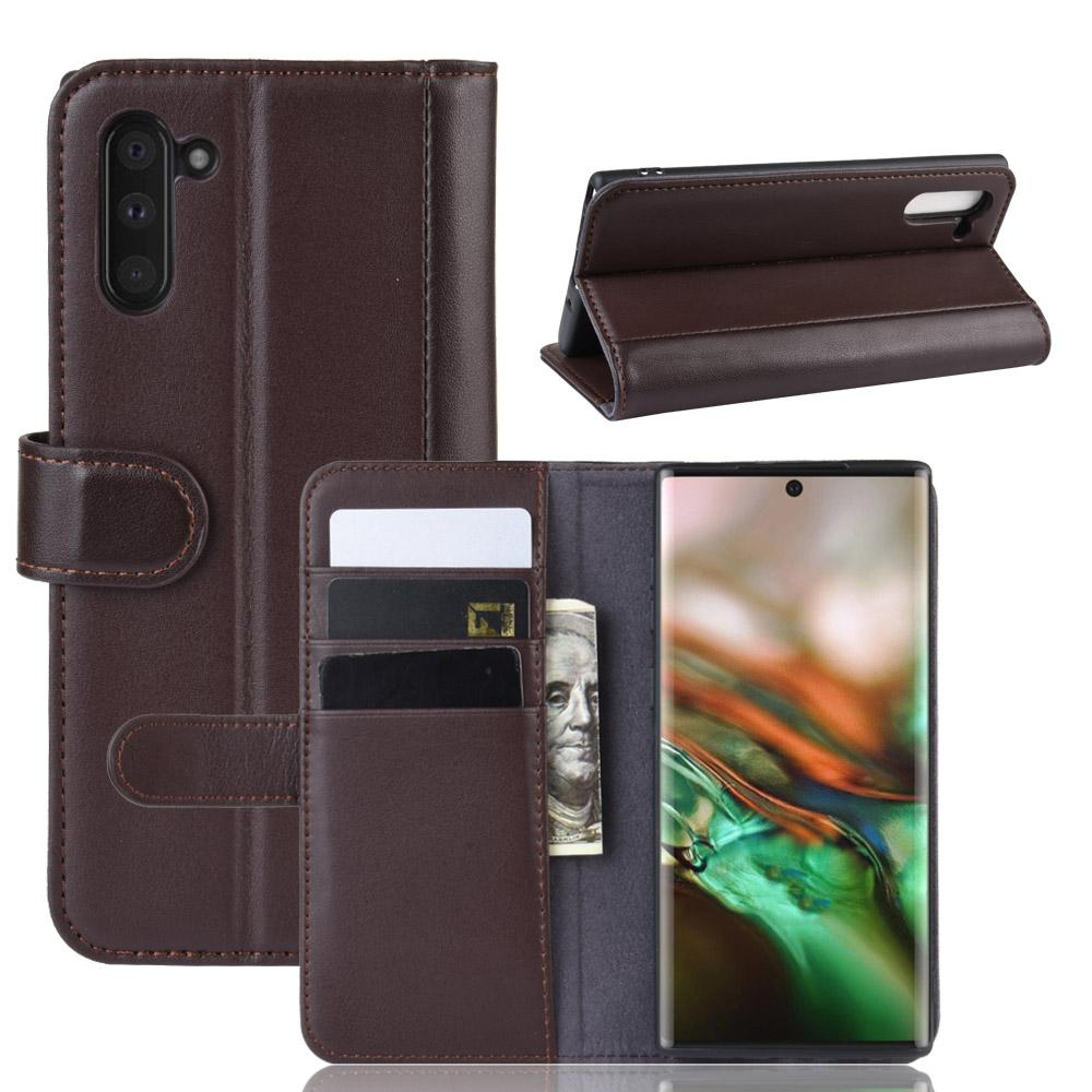 Wallet Case for Galaxy Note 10 Genuine Leather with Card Holder Kickstand Brown