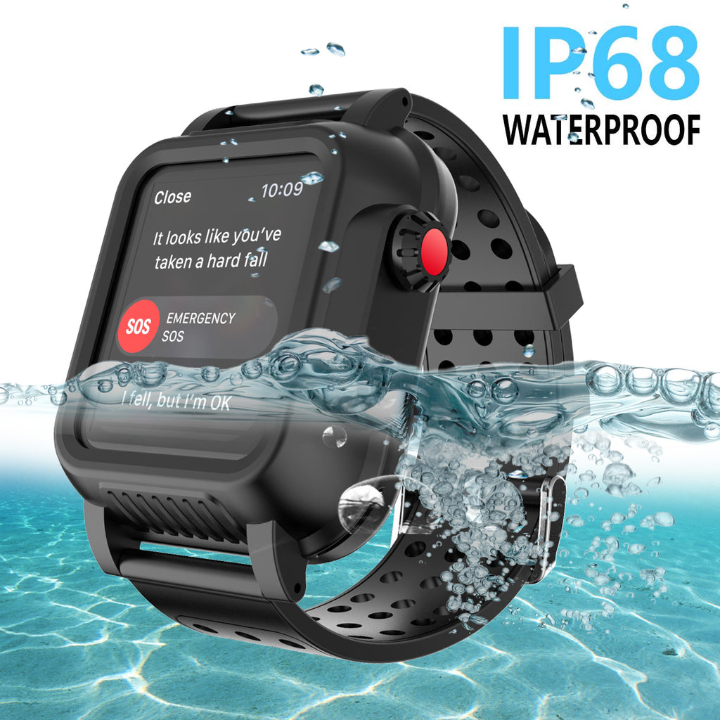 iWatch Series 3 Waterproof Case Rugged Protective Cover 42mm with Rubber Watch Strap