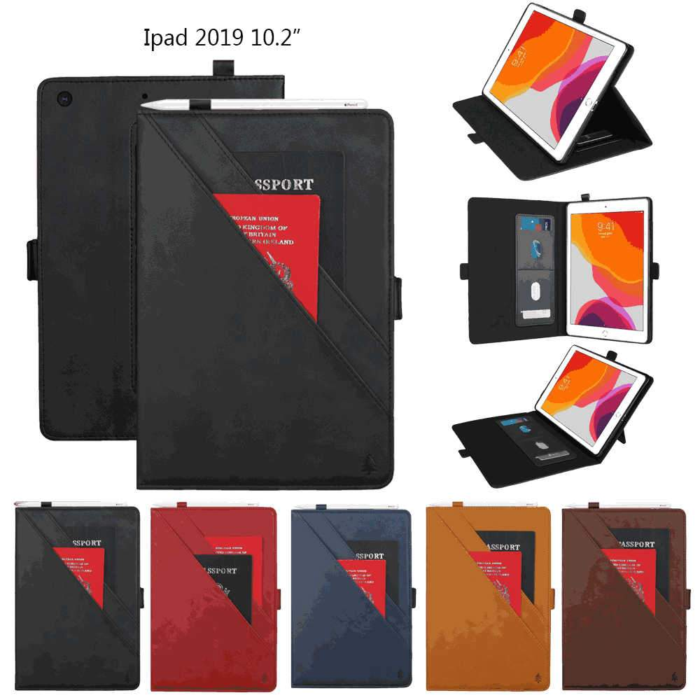 Leather Case for iPad 10.2 Inch 2019 with Pen Holder Card Slots Kickstand Flip Cover Black