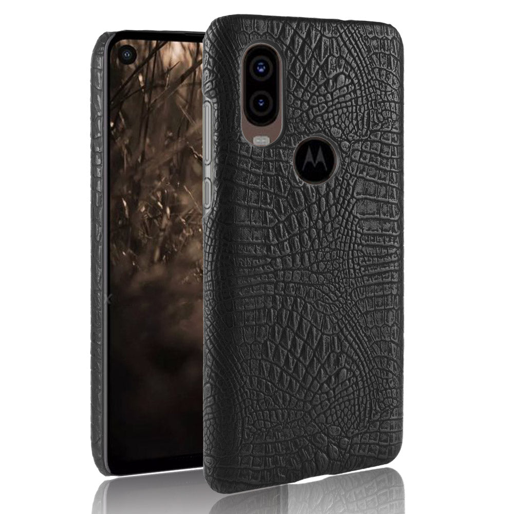 Motorola One Vision Cases Shockproof Crocodile Protective Phone Cover Black