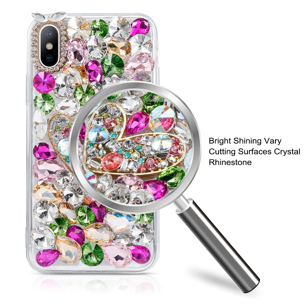 iPhone Xs Gitter Case 3D Handmade Bling Crystal Rhinestone Diamond Bright Shining Back Case Bling with Lanyard