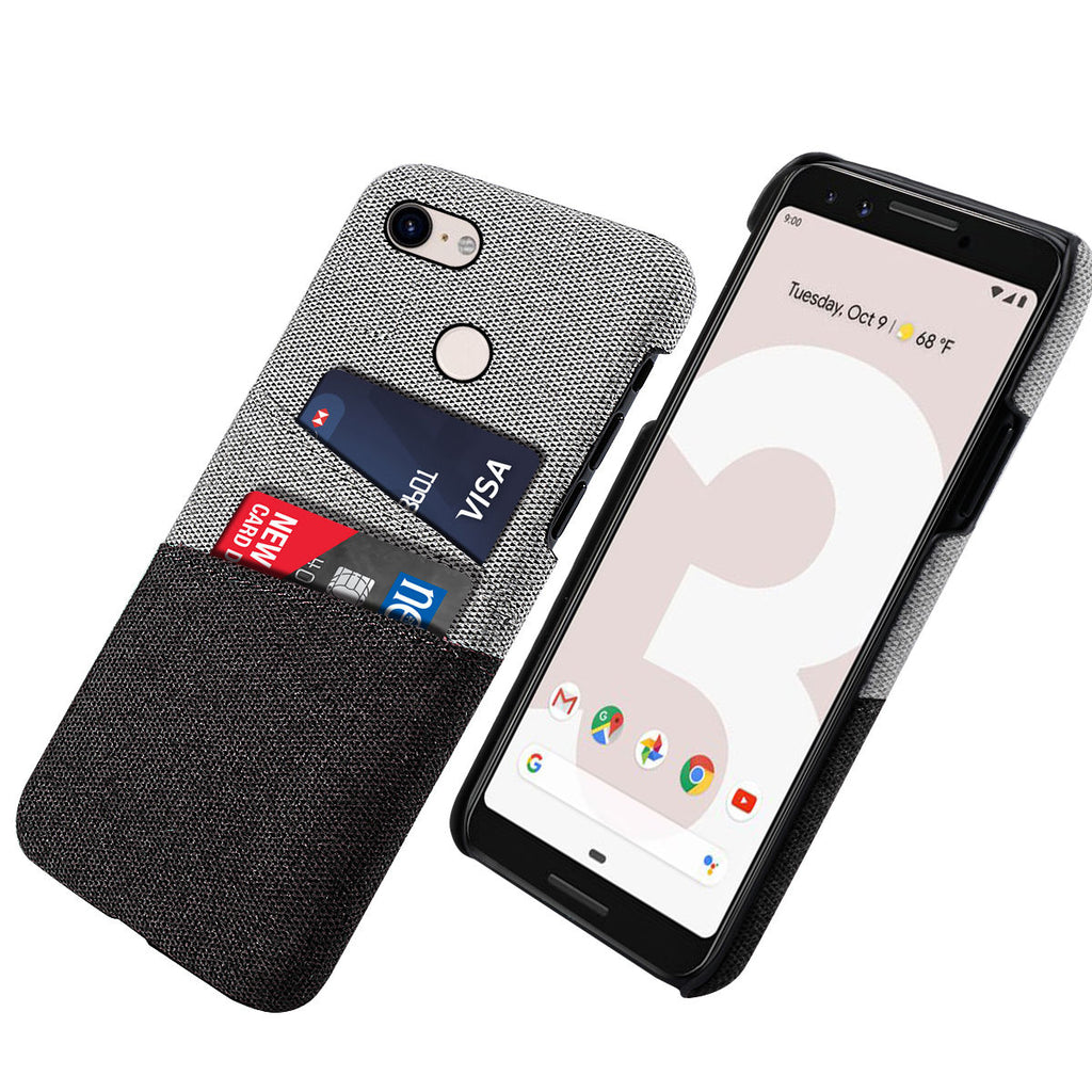Google Pixel 3 Case Fabric Cover Wallet Card Slots Hard Case Black