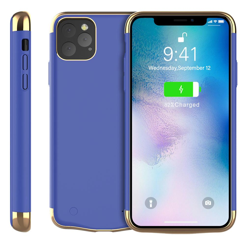 iPhone 11 Pro Max Battery Case Anti Shock Protective Cover 6000mah Extended Charger Blue