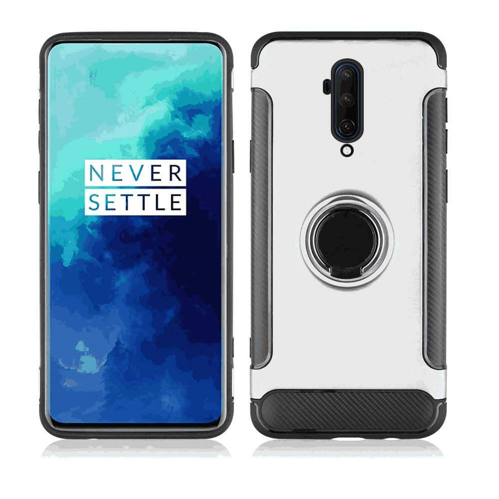 OnePlus 7T Pro Case Rugged Lightweight Protective Case with Ring Bracket Silver
