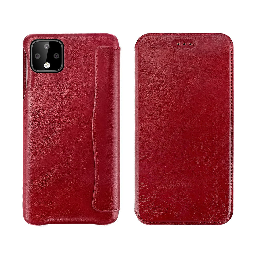 Google Pixel 4 XL Leather Case Business Leather Anti Shock Cover with Card Slot Red