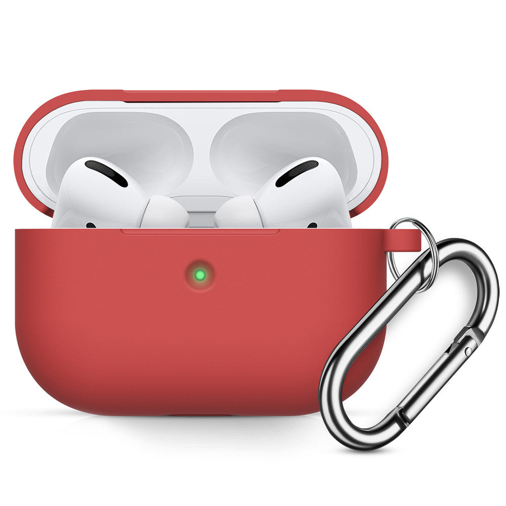 AirPods Pro Case Silicone Airpods Case Cover with Keychain Front LED Visible Dustproof Cover Red