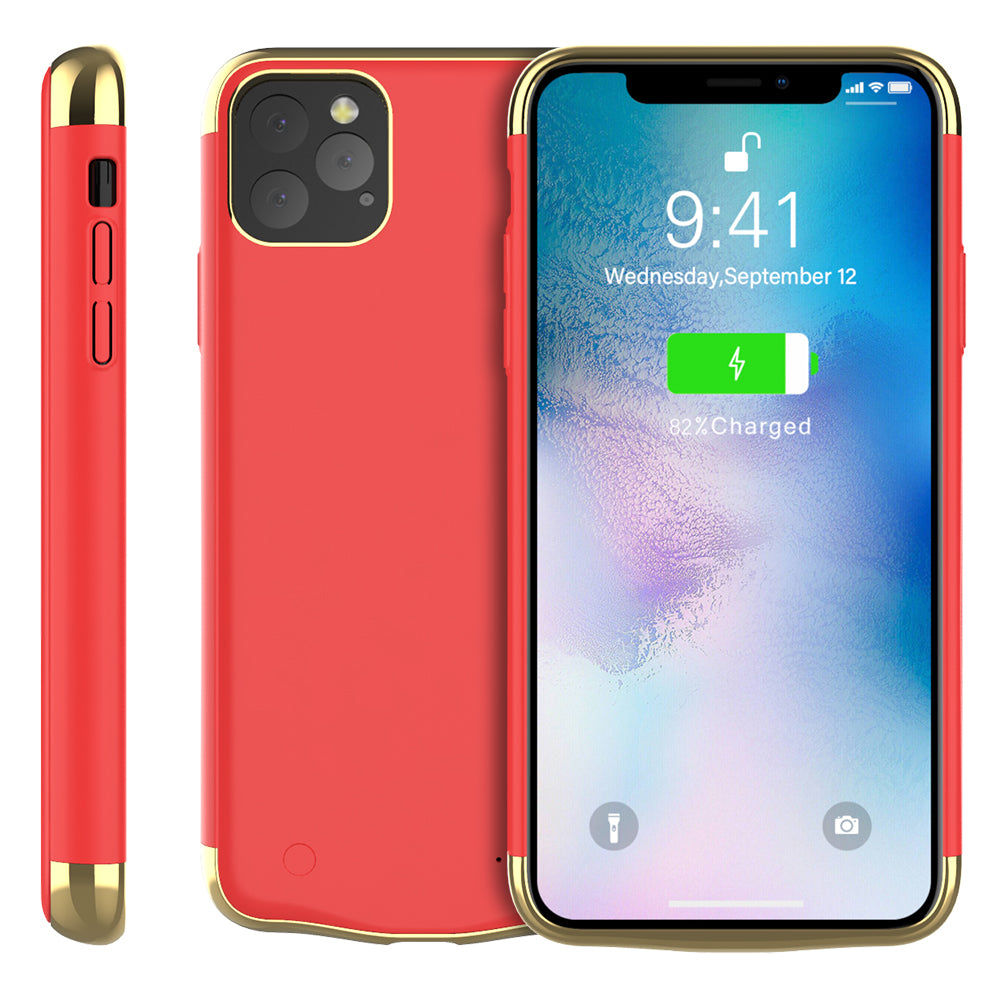 iPhone 11 Pro Max Battery Case 6000mah Rechargeable Power Bank Portable Phone Cover for Women Red