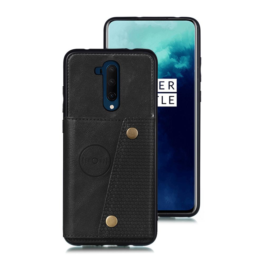 Oneplus 7T Pro Leather Wallet Back Case with Card Slots& Bracket Stand Black