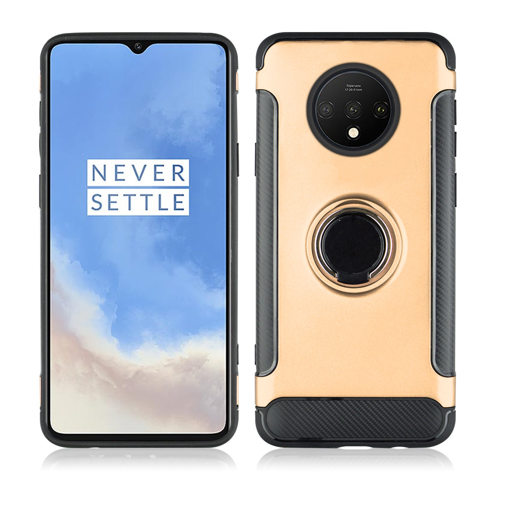 Oneplus 7T Case PC TPU with Ultra Slim Shockproof Cover with Bracket Rose Gold
