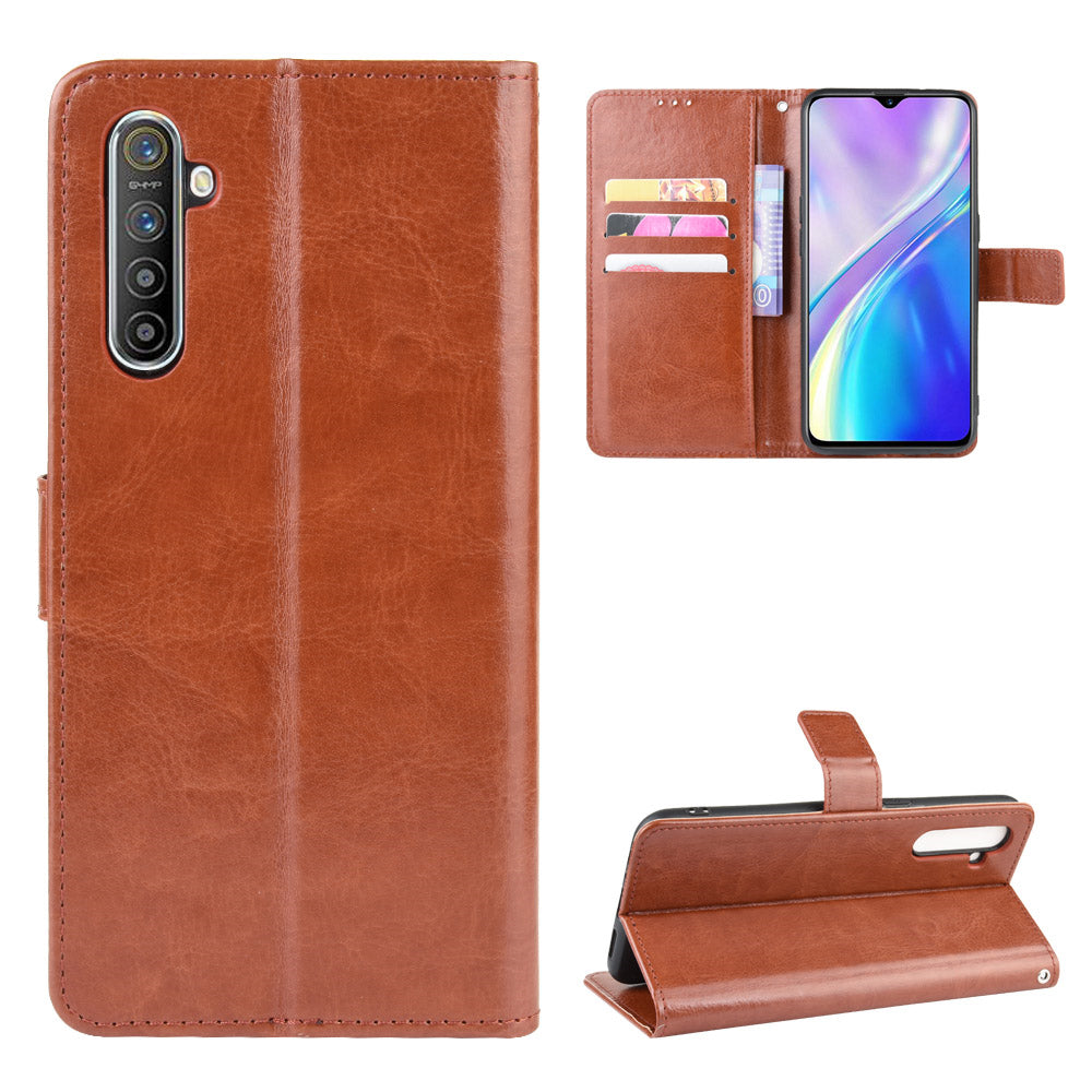 Leather Case for Realme X2 ID&Credit Cards Pocket Wallet Cover Stand Feature Brown