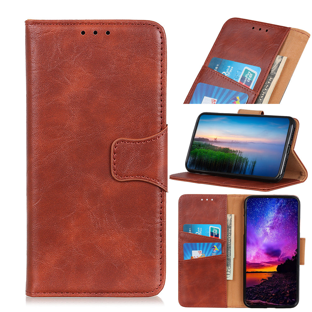 Realme X2 Pro Wallet Case TPU Shell Leather Cover with Card Holder Kickstand Brown