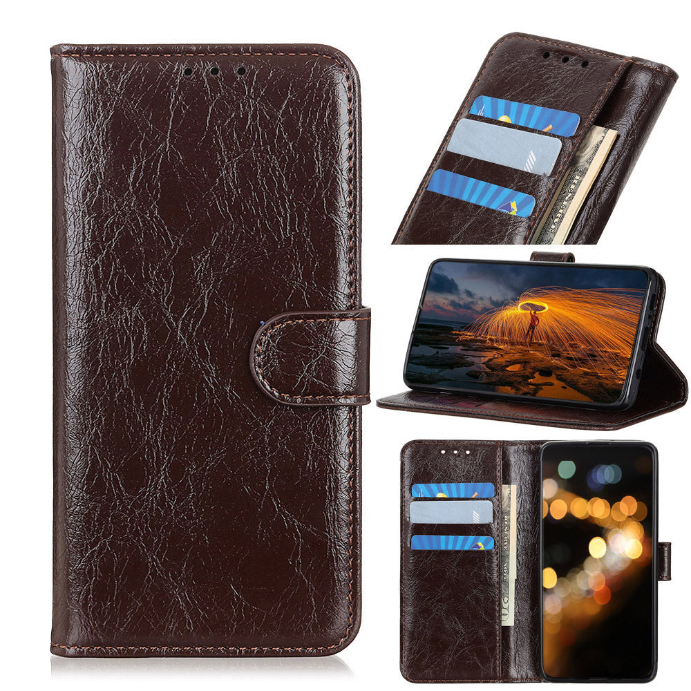Huawei Honor V30 Leather Case Wallet with Card Slots Viewing Stand Flip Cover Brown