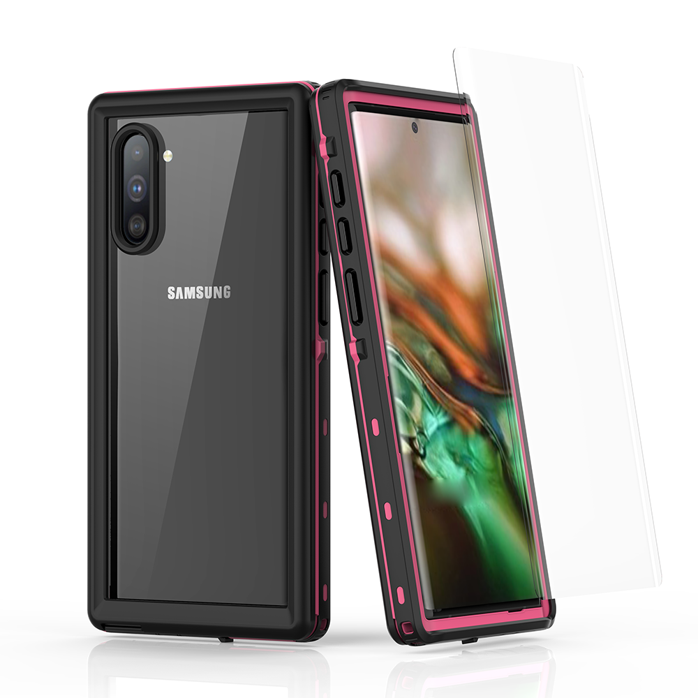 Galaxy Note 10 Waterproof Case Built in Screen Protector Full Body Protective Shockproof Dirtproof Cover Pink