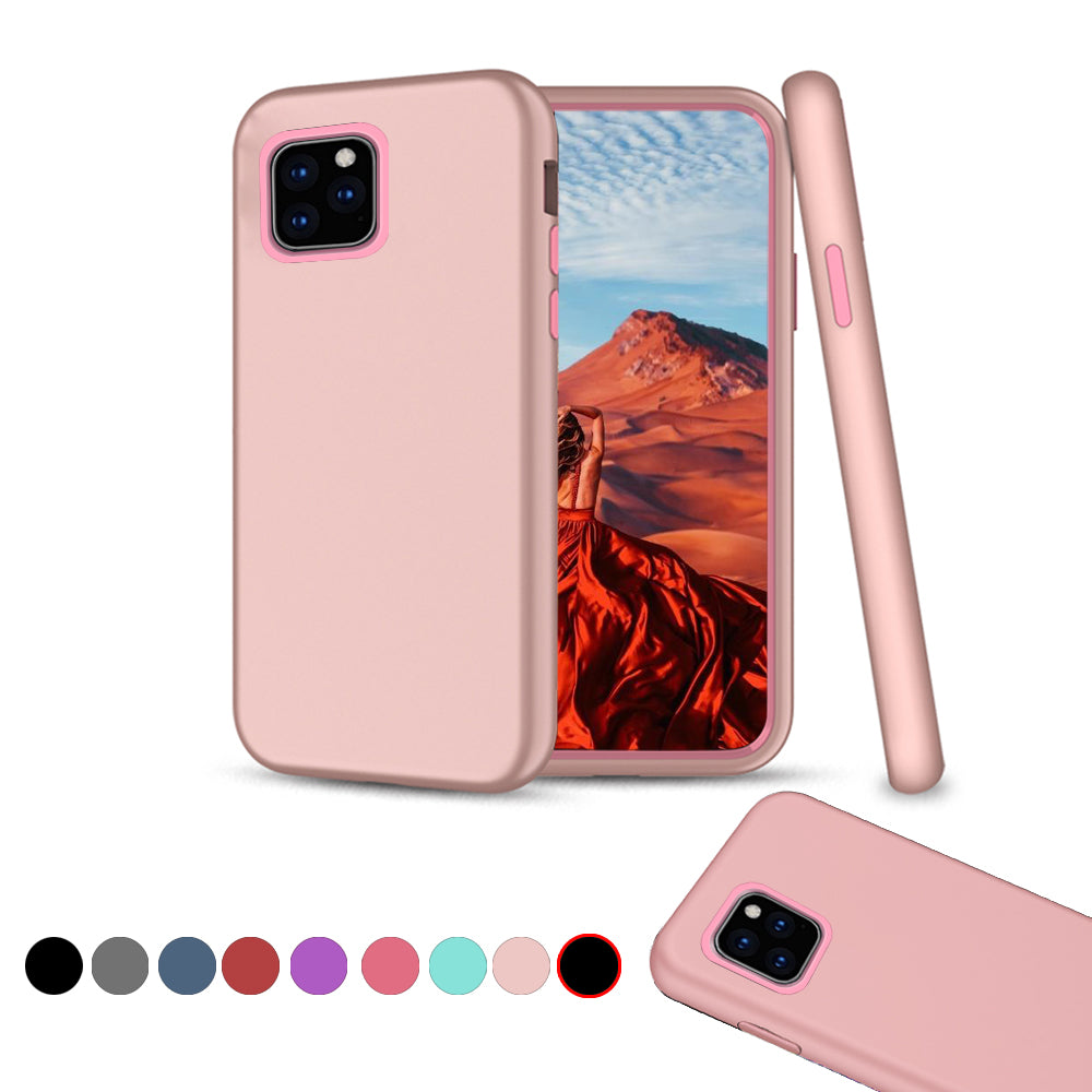 Case for iPhone 11 Pro TPU + PC Hybrid Cover Shockproof Anti-scratch Protective Shell Pink