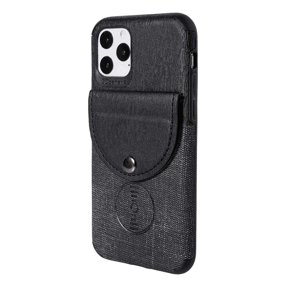 iPhone 11 Case Protective Leather Cover Wood Grain Design Hybrid Case with Card Holder Black