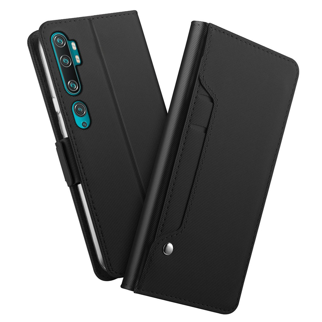 Xiaomi Mi Note 10 Wallet Case with Hidden ID Slot Credit Card Holder Leather Cover & Mirror Black