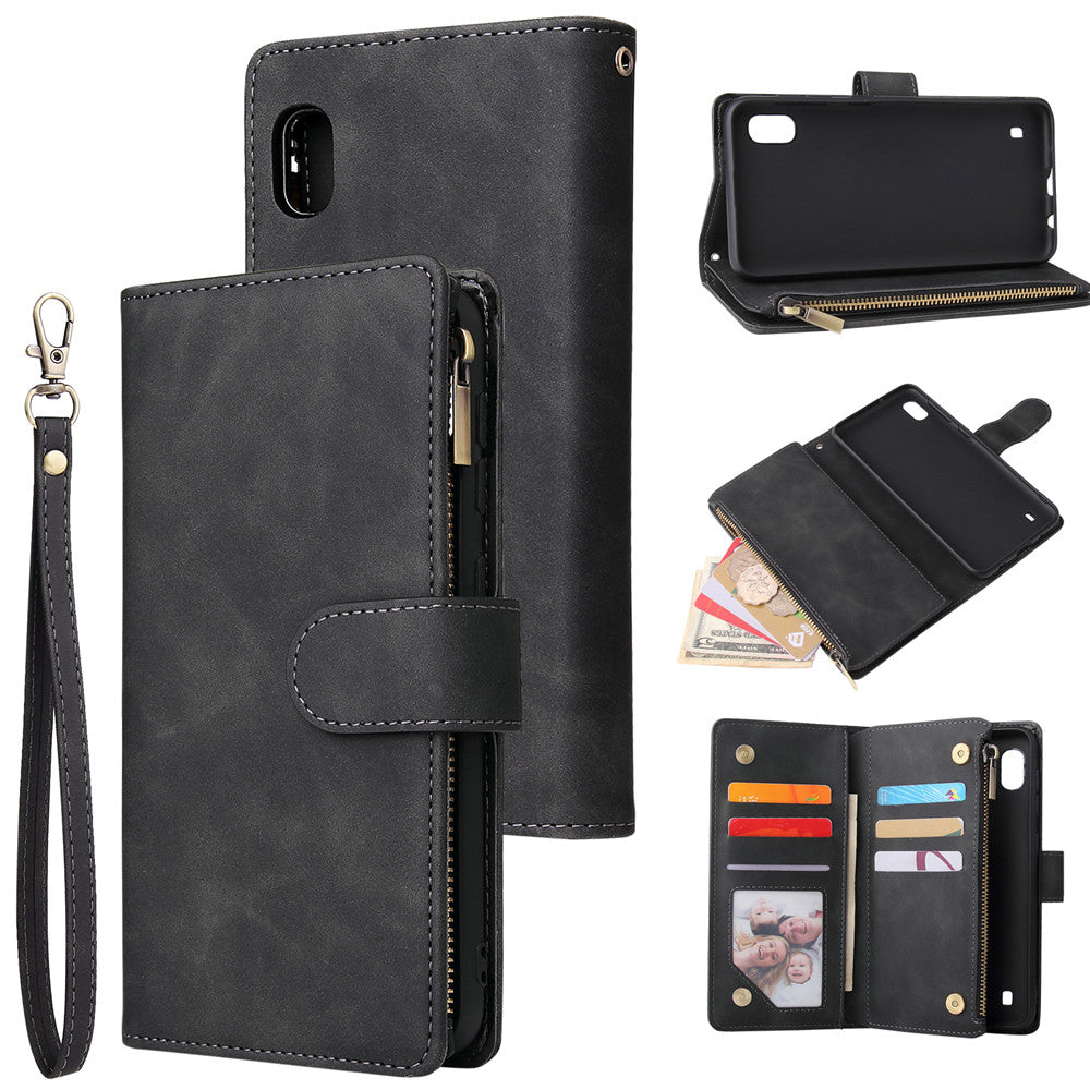Samsung Galaxy A10 Leather Multi-card Holder Wallet With TPU Protective Shell Kickstand Cover Black