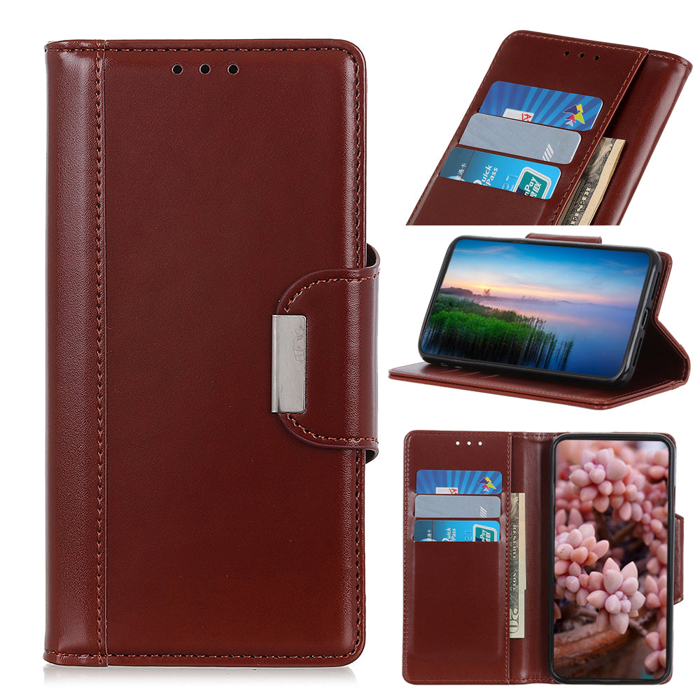 Leather Wallet Case for Realme X2 Pro with Magnetic Closure Cardholder Case Brown