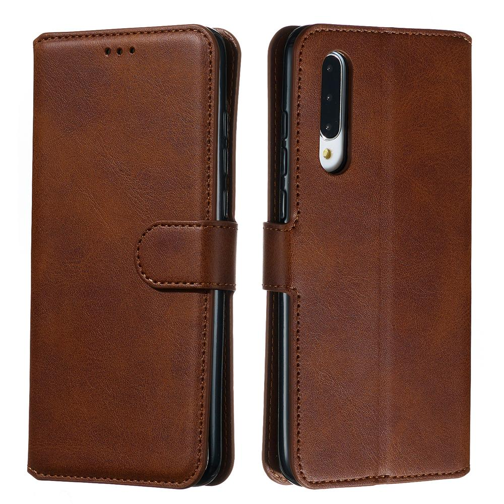 Xiaomi Mi CC9 Wallet Case Leather Flip Cover with Credit Card Slots Magnetic Closure Brown
