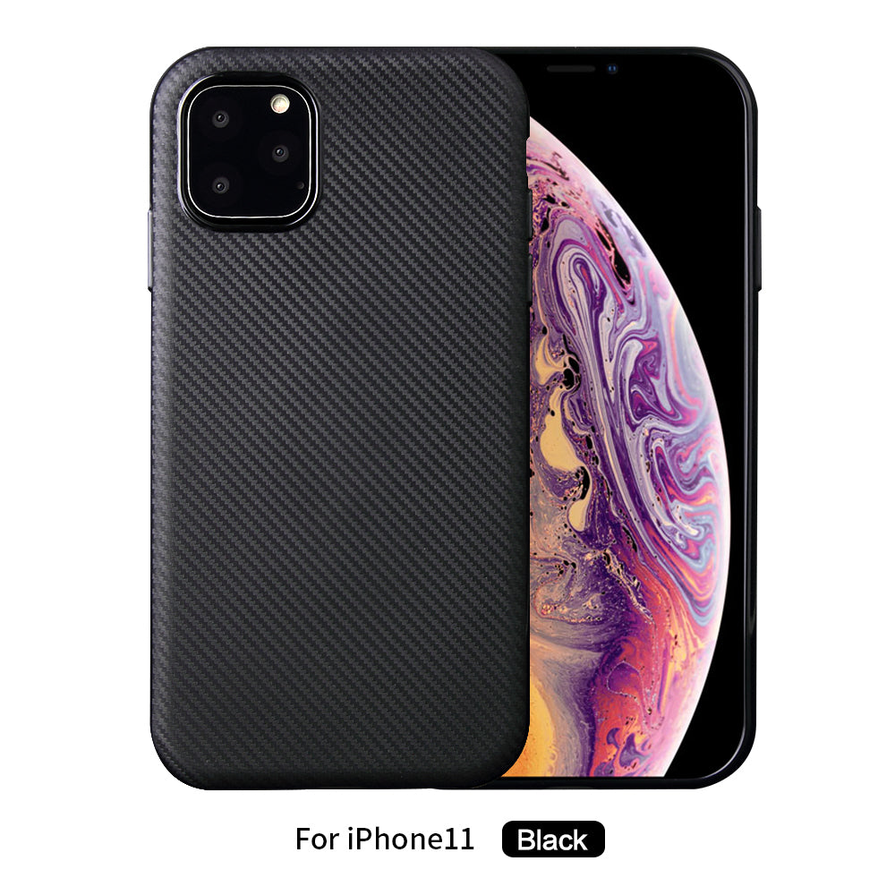 iPhone 11 Case Ultra Thin TPU Fiber Scratch Resistant Phone Shell Black