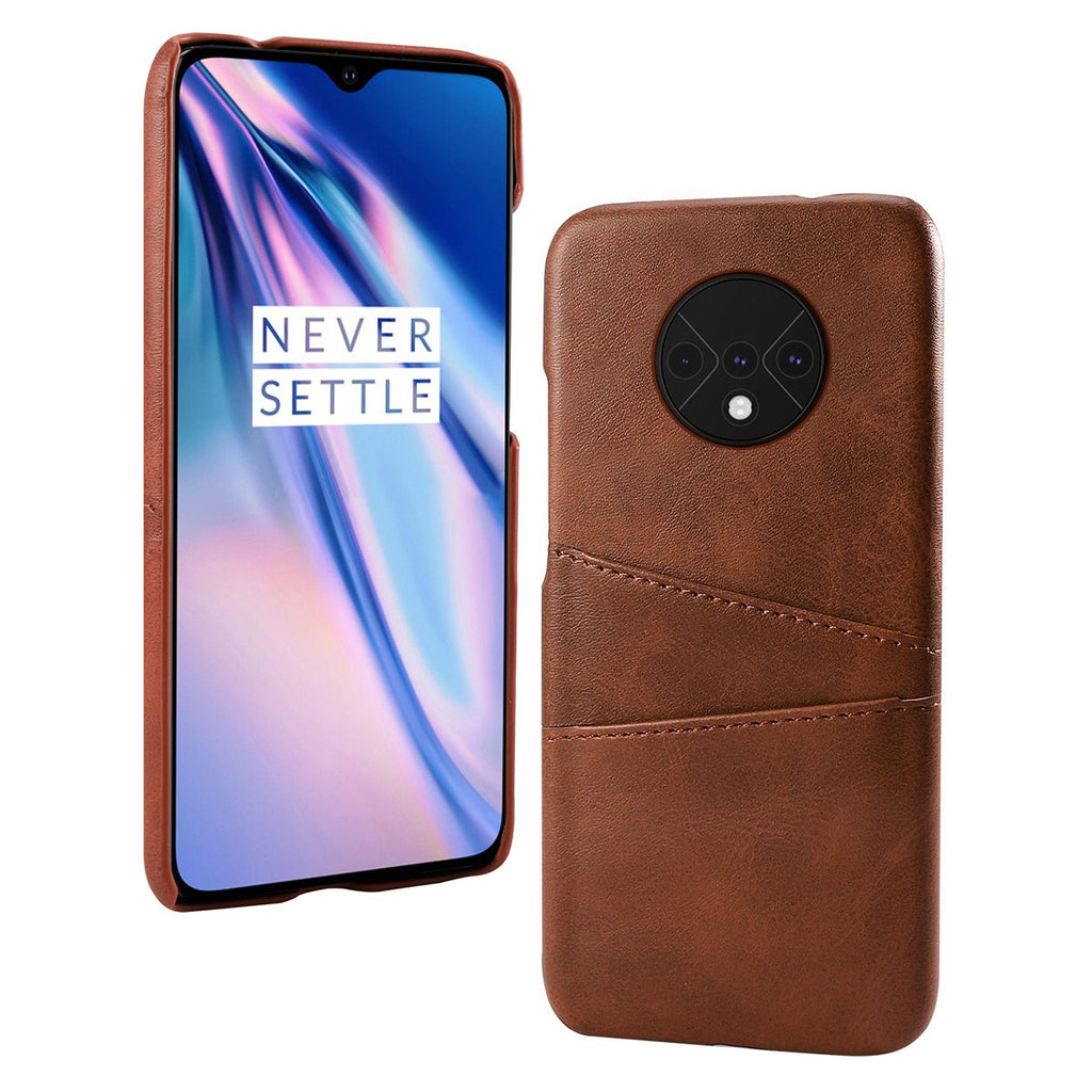 OnePlus 7T Case PU Leather Wallet Anti-Scratch Protective Cover with 2 Card Slots Dark Brown