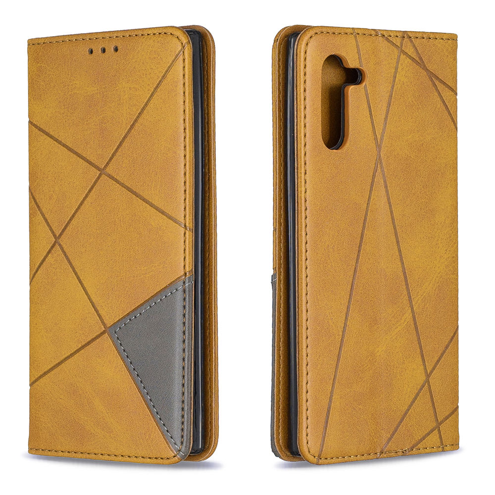 Leather Case for Galaxy Note 10 with Viewing Stand Card Slots Yellow