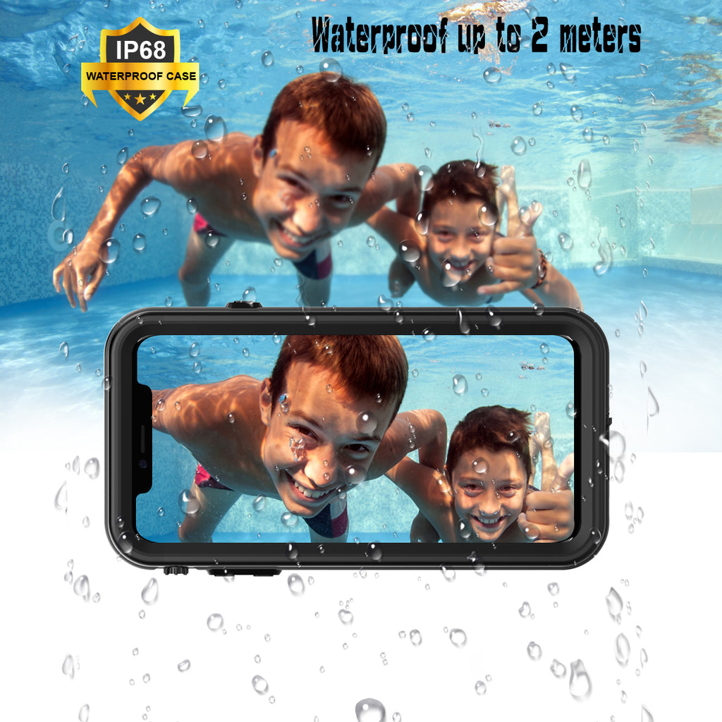 iPhone XR Waterproof Case, Moonmini Underwater Full Sealed Cover Case with screen protector for iPhone Xr - Black