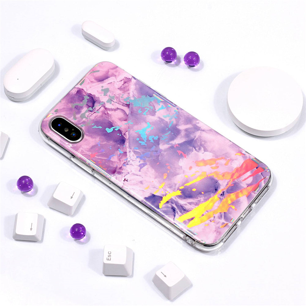 Marble iPhone Xs Case Ultra Slim Fit Soft TPU Marble Phone Case Anti-Scratch Protective Cover Purple Marble