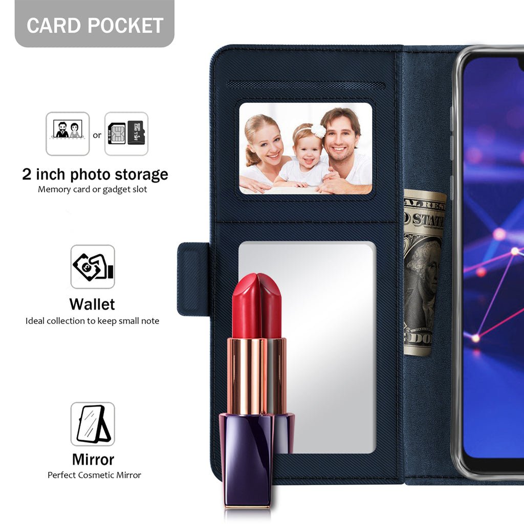 Huawei Mate 20 Lite Case Flip Stand Cover PU Leather Wallet Case with Mirror and Card Slots (Blue)