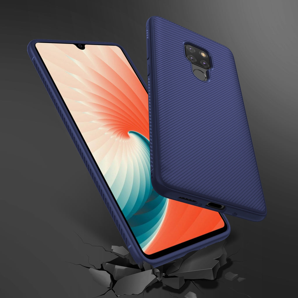 Huawei Mate 20 Case Soft Silicone TPU Scratch Resistant Protective Thin Shell Mobile Phone Back Case (Dark Blue)